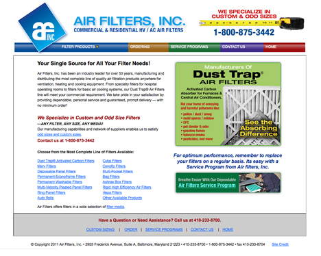 airfilters web site design
