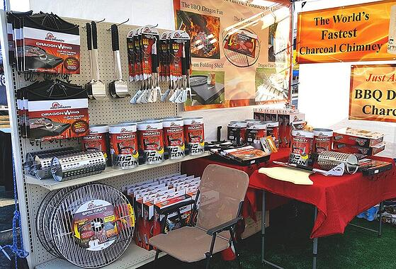 Retail products being displayed at a tradeshow booth