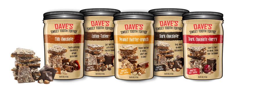 Group photo of Dave's Sweet Tooth candy packaging