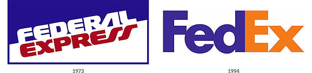 Comparison of old and new FedEx logos side-by-side.